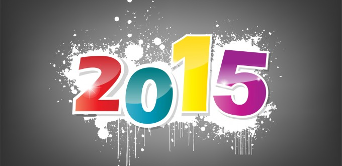 New year 2015 wallpaper grunge effect on black.